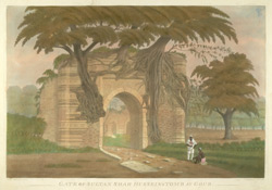 'Gate of Sultan Shah Hussein's tomb at Gour.'  From 'Views at Gaur', six aquatints by James Moffat after Henry Creighton, published by Moffat in Calcutta 1808.